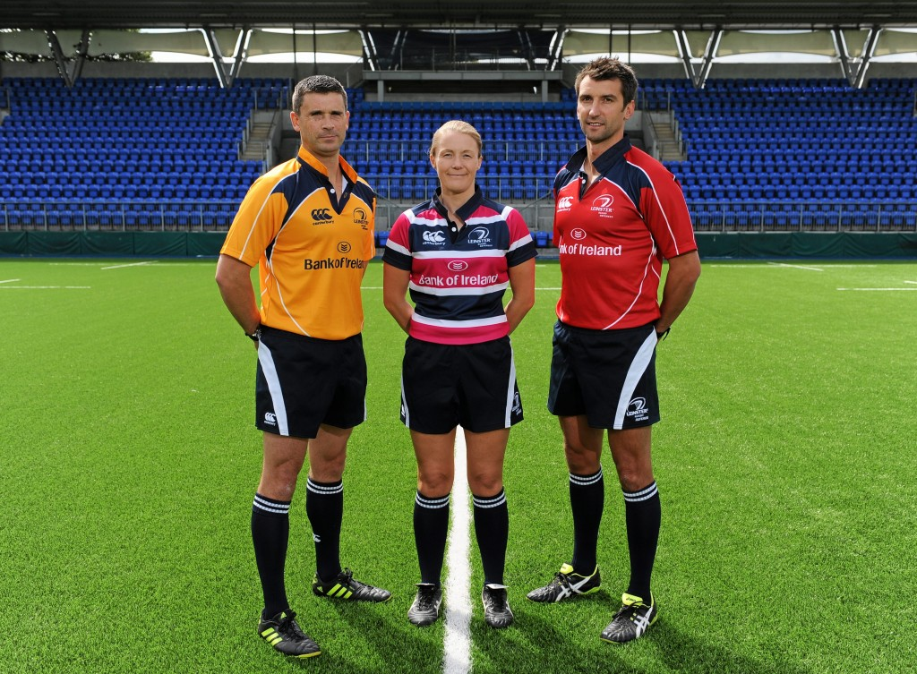 6 August 2015; Referee Dudley Phillips, left, Referee Helen O'Reilly, centre, and Referee Gary Conway, right. Leinster Rugby Branch Referee Photos. Bective Rangers, Donnybrook, Dublin. Picture credit: Seb Daly / SPORTSFILE *** NO REPRODUCTION FEE ***