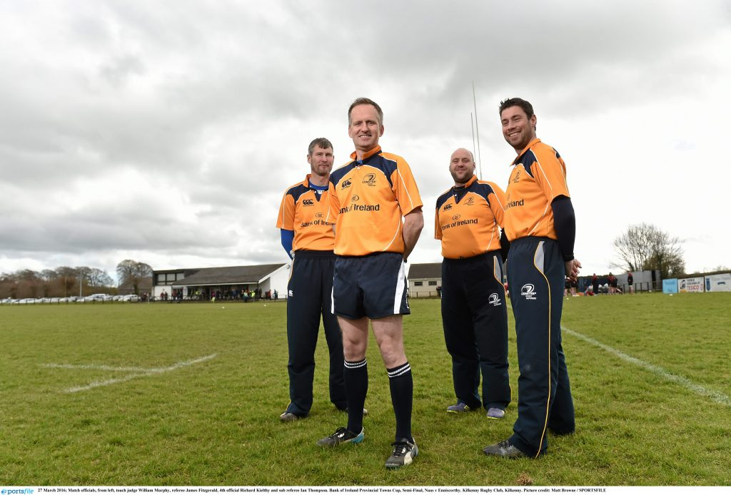 27 March 2016; Match officials, from left, touch judge William Murphy, referee James Fitzgerald, 4th official Richard Kielthy and sub referee Ian Thompson. Bank of Ireland Provincial Towns Cup, Semi-Final, Naas v Enniscorthy. Kilkenny Rugby Club, Kilkenny. Picture credit: Matt Browne / SPORTSFILE